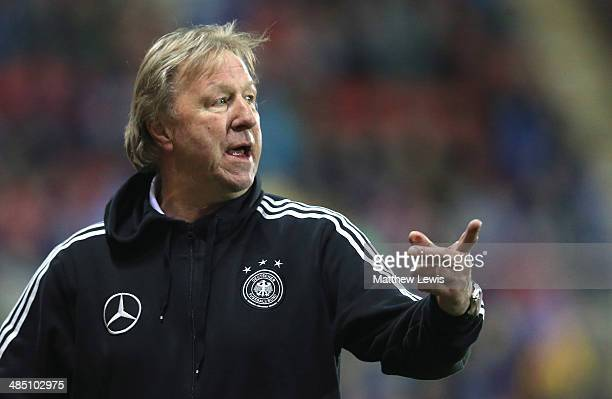 Horst Hrubesch Coach of Germany looks on during the Under 18 International Friendly match between England U18 and Germany U18 at The New York Stadium...