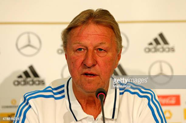 Horst Hrubesch head coach of Germany attends a press conference at NH Hotel on June 28 2015 in Prague Czech Republic