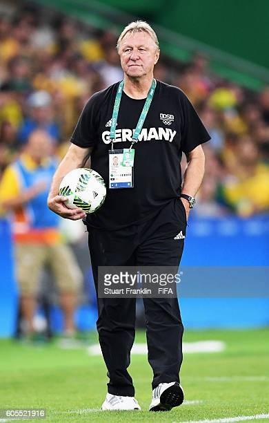 Horst Hrubesch head coach of Germany gestures during the Olympic Men's Final Football match between Brazil and Germany at Maracana Stadium on August...