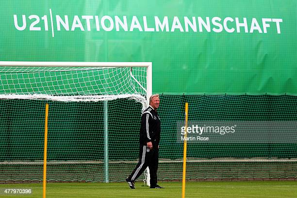 Horst Hrubesch head coach of Germany looks on during a training session ahead of the UEFA European Under21 Group A match against Czech Republic at NH...