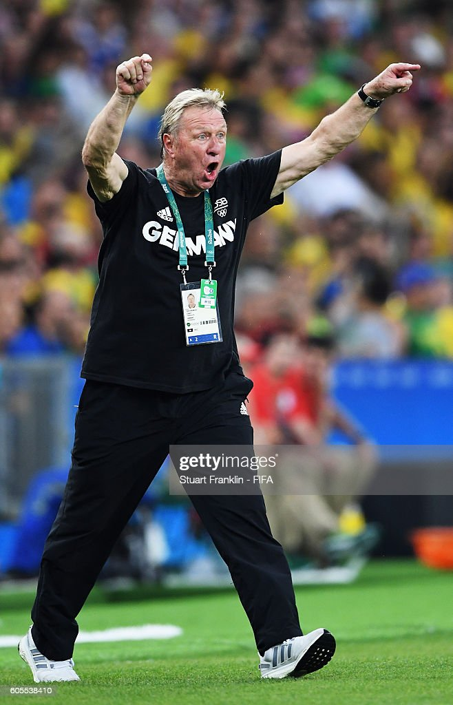 Horst Hrubesch, head coach of Germany reacts during the Olympic Men's Final Football match between Brazil and Germany at Maracana Stadium on August 20, 2016 in Rio de Janeiro, Brazil.