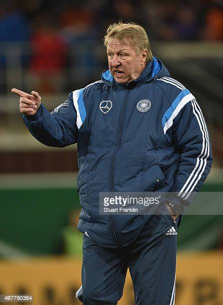 Horst Hrubesch head coach of Germany U21 points during a U21 International friendly match between U21 Germany and U21 Italy on March 27 2015 in...