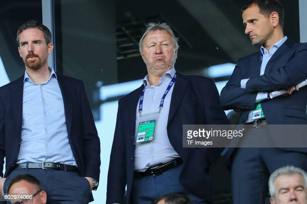 Horst Hrubesch looks on during the UEFA European Under21 Championship Group C match between Germany and Czech Republic at Tychy Stadium on June 18...