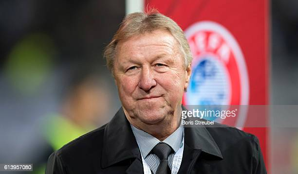 Horst Hrubesch looks on prior to the FIFA World Cup 2018 qualifying match between Germany and Czech Republic at Volksparkstadion on October 8 2016 in...
