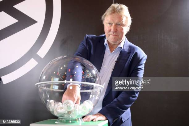 Horst Hrubesch of DFBPokal Junioren Cupdraw on September 4 2017 in Stuttgart Germany
