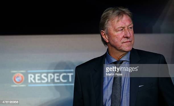 Horst Hrubesch of Germany looks on before the UEFA European Under21 Group A match between Germany and Czech Republic at Eden Stadium on June 23 2015...