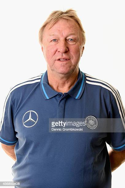 Horst Hrubesch of Germany poses during the Under 21 Germany team presentation on October 8 2014 in Duesseldorf Germany