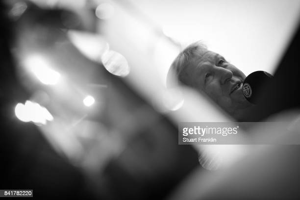 Horst Hrubesch of the DFB looks on during an interview prior to the International friendly match between Germany U21 and Hungary U21 at the Benteler...