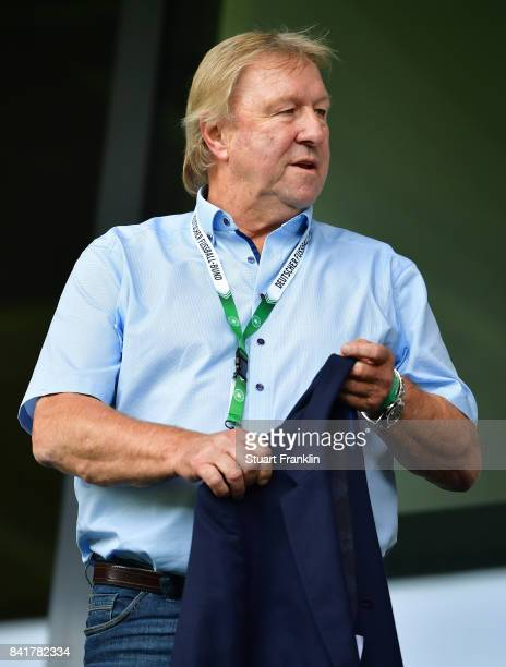Horst Hrubesch of the DFB looks on during the International friendly match between Germany U21 and Hungary U21 at the Benteler Arena on September 1...