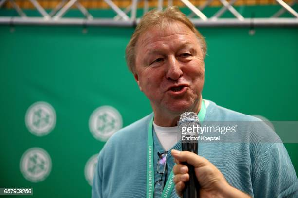 Horst Hrubesch talks during the B and C Juniors German Indoor Football Championship at Sporthalle West on March 26 2017 in Gevelsberg Germany