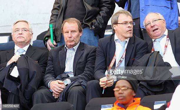 Horst R Schmidt Chairman of the FIFA Ticketing SubCommittee former Germany head coach Berti Vogts guest and former Germany footballer Uwe Seeler...