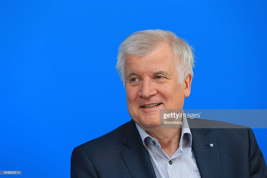 Horst Seehofer, Bavarian premier and leader of the Christian Social Union (CSU) party, reacts during a news conference in Potsdam, Germany, on Saturday, June 25, 2016. Angela Merkel, Germany's chancellor, signaled she wants to avoid punishing the U.K. as it leaves the European Union, though the exit talks shouldnt drag on forever. Photographer: Krisztian Bocsi/Bloomberg via Getty Images
