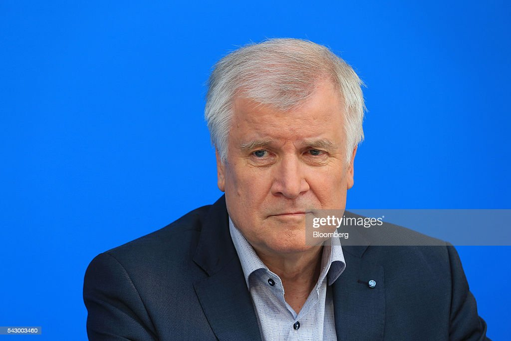 Horst Seehofer, Bavarian premier and leader of the Christian Social Union (CSU) party, looks on during a news conference in Potsdam, Germany, on Saturday, June 25, 2016. Angela Merkel, Germany's chancellor, signaled she wants to avoid punishing the U.K. as it leaves the European Union, though the exit talks shouldnt drag on forever. Photographer: Krisztian Bocsi/Bloomberg via Getty Images