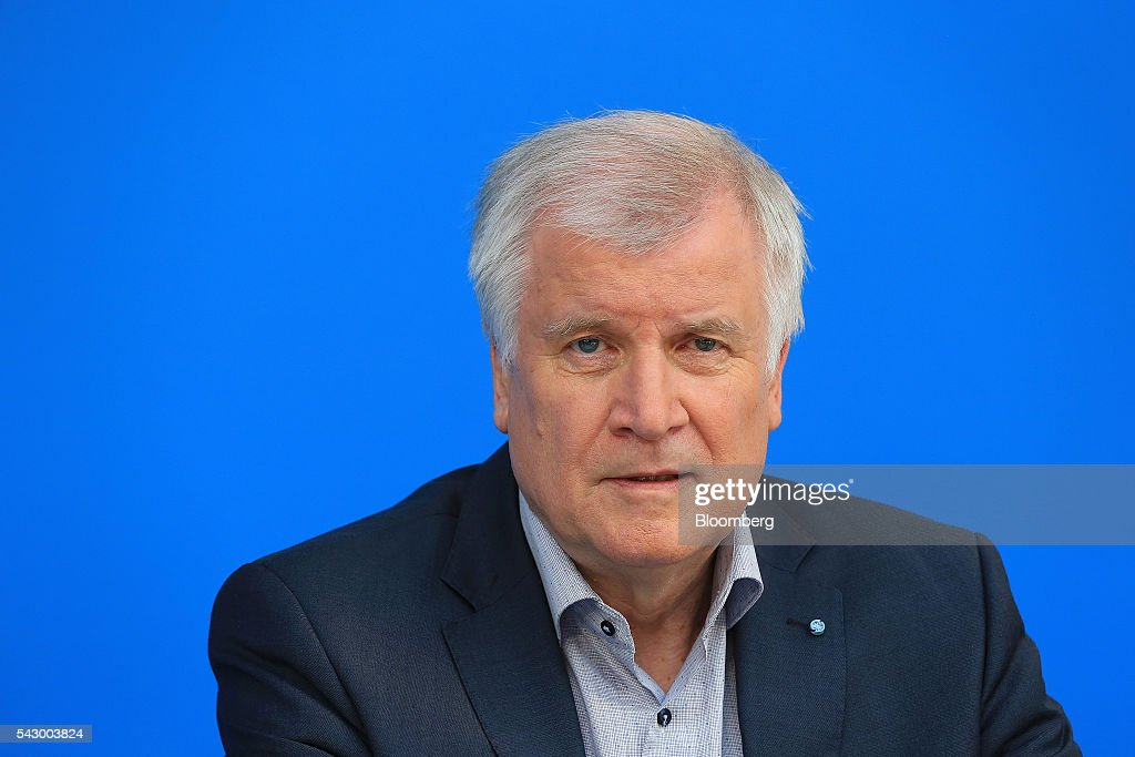 Horst Seehofer, Bavarian premier and leader of the Christian Social Union (CSU) party, speaks during a news conference in Potsdam, Germany, on Saturday, June 25, 2016. Merkel signaled she wants to avoid punishing the U.K. as it leaves the European Union, though the exit talks shouldnt drag on forever. Photographer: Krisztian Bocsi/Bloomberg via Getty Images