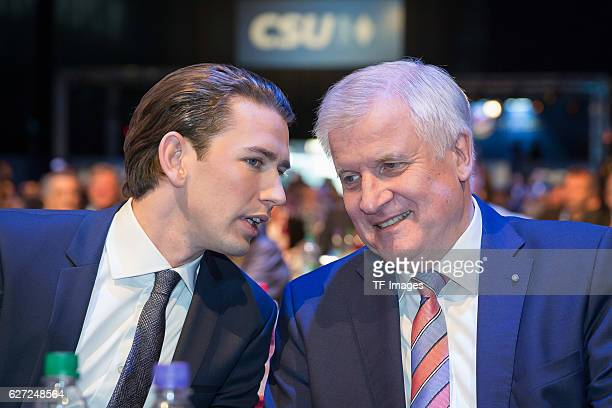 Horst Seehofer Bavarian Prime and Minister Sebastian Kurz Austrian Federal Minister looks on during at the annual CSU party congress on November 04...