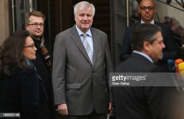 Horst Seehofer Chairman of the Bavarian Christian Democrats looks on as Sigmar Gabriel Chairman of the German Social Democrats and SPD General...