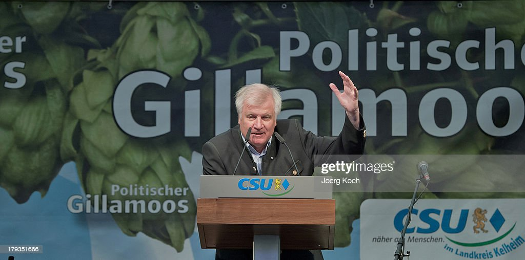 <a gi-track='captionPersonalityLinkClicked' href=/galleries/search?phrase=Horst+Seehofer&family=editorial&specificpeople=4273631 ng-click='$event.stopPropagation()'>Horst Seehofer</a>, Chairman of the Bavarian Christian Democrats (CSU), speaks to supporters at the annual Gillamoos beer tent day of politics on September 2, 2013 in Abensberg, Germany. Bavaria is scheduled to hold state elections on September 15, one week ahead of German federal elections scheduled for September 22.
