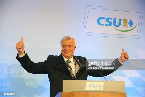 Horst Seehofer Chairman of the Bavarian Christian Democrats speaks to supporters at the Bavarian state parliament after initial results give the CSU...