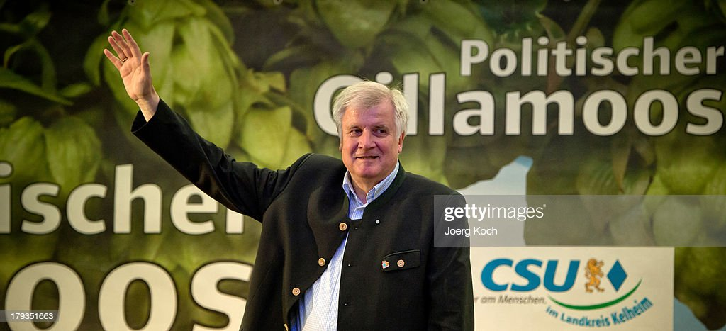 Horst Seehofer, Chairman of the Bavarian Christian Democrats (CSU), waves to his supporters at the annual Gillamoos beer tent day of politics on September 2, 2013 in Abensberg, Germany. Bavaria is scheduled to hold state elections on September 15, one week ahead of German federal elections scheduled for September 22.
