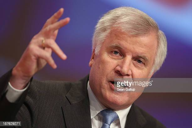 Horst Seehofer Chairman of the Christian Social Union the Bavarian sister party of the German Christian Democratic Union speaks at the CDU federal...