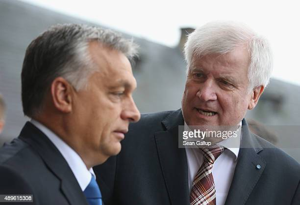 Horst Seehofer Governor of Bavaria and head of the Bavarian Christian Democrats chats with Viktor Orban Prime Minister of Hungary upon Orban's...