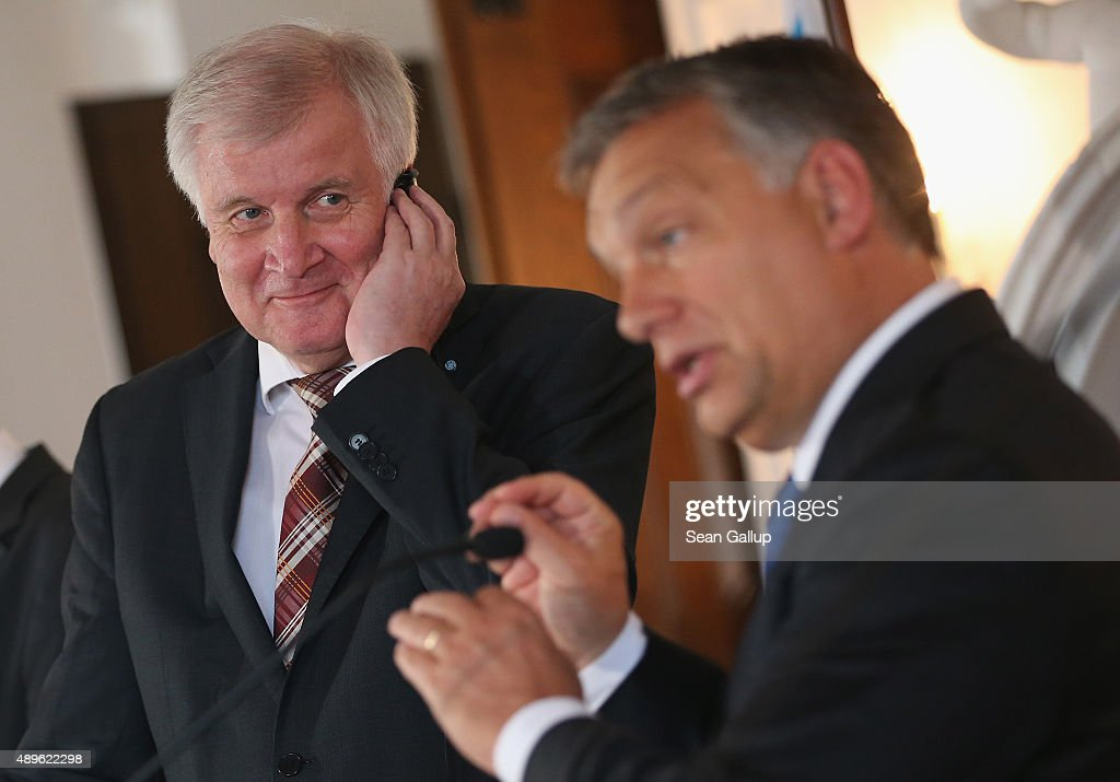 <a gi-track='captionPersonalityLinkClicked' href=/galleries/search?phrase=Horst+Seehofer&family=editorial&specificpeople=4273631 ng-click='$event.stopPropagation()'>Horst Seehofer</a> (L), Governor of Bavaria and head of the Bavarian Christian Democrats (CSU), and <a gi-track='captionPersonalityLinkClicked' href=/galleries/search?phrase=Viktor+Orban&family=editorial&specificpeople=4685765 ng-click='$event.stopPropagation()'>Viktor Orban</a>, Prime Minister of Hungary, speak to the media at a four-day meeting of the CSU Bavarian parliamentary faction at Kloster Banz on September 23, 2015 in Bad Staffelstein, Germany. Seehofer invited Orban to participate in today's discussions in which refugee policy and immigration were prominent. Orban has pursued a rigid course against migrants and refugees seeking to enter Hungary by building a fence along the country's border to Serbia. Orban will travel to Brussels for an EU summit on refugee policy later today.