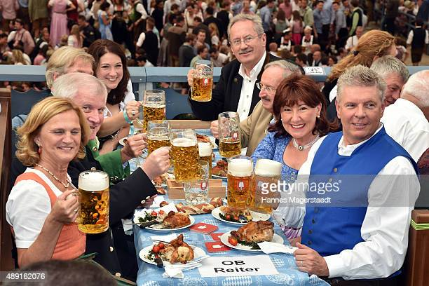 Horst Seehofer Karin Seehofer Petra Reiter and Dieter Reiter during the Oktoberfest 2015 Opening at Schottenhamel beer tent on September 19 2015 in...