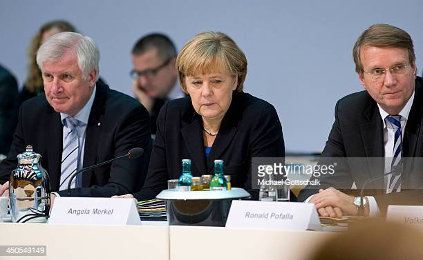 Horst Seehofer Prime Minister of German State Bavaria German Chancellor Angela Merkel and Head of the German Chancellery Ronald Pofalla attend...