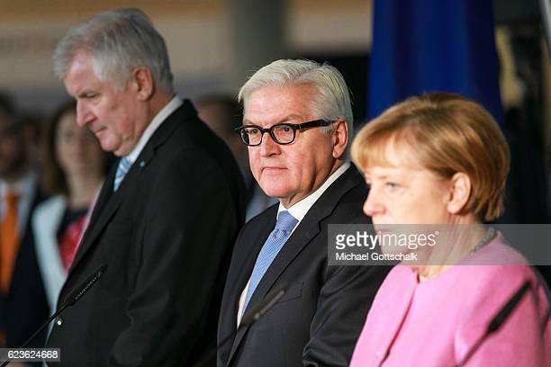 Horst Seehofer Prime Minister of German State Bavaria German Chancellor Angela Merkel present German Foreign Minister FrankWalter Steinmeier as...