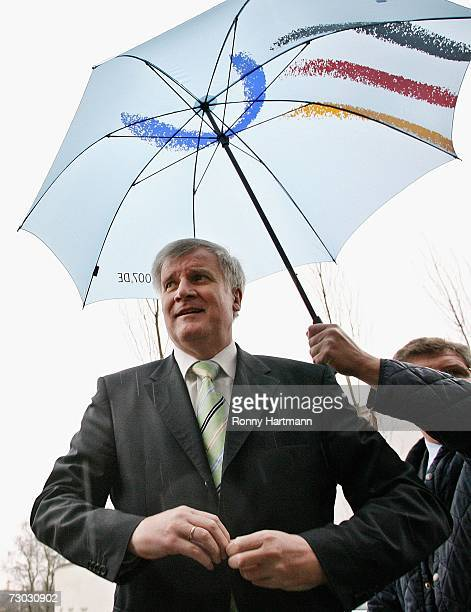 Horst Seehofer the Christian Social Union Minister of Agriculture and Consumer Protection arrives at the 72nd International Gruene Woche on January...