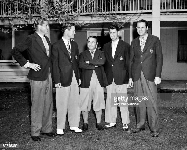 Horton Smith Byron Nelson Gene Sarazen Henry Picard and Ralph Guldahl the first five Master's winners pose together during the 1939 Masters...