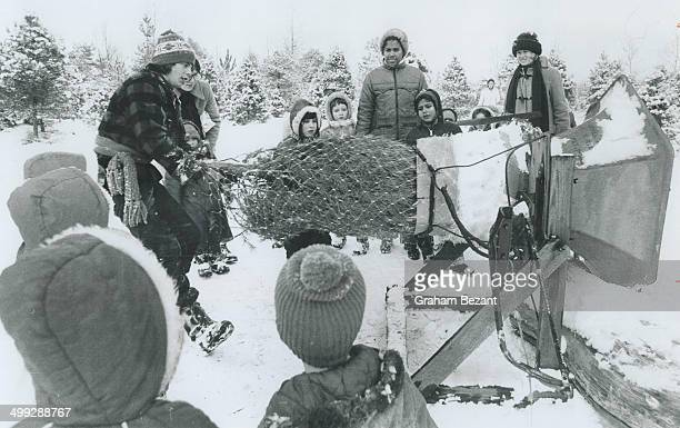Horton Tree Farm worker Jamie Hopkins shows young school children how a cut Christmas tree is tied up with a mesh net by machine to make it easier to...