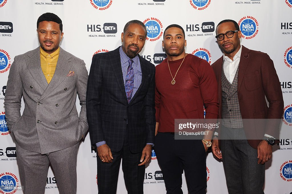 Hosea Chanchez BET Networks President of Broadcast Media Sales Louis Carr Nelly and Jeff Johnson attend the HIS Official Launch Party at the Park...