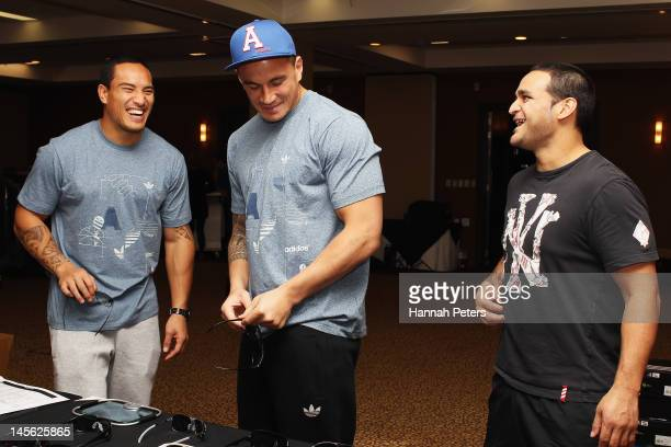 Hosea Gear Piri Weepu and Sonny Bill Williams try on new gear on June 3 2012 in Auckland New Zealand