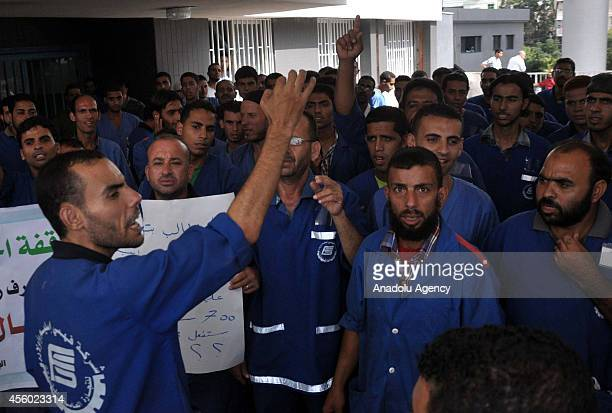 Hospital cleaning workers who stage a threedaystrike all around Gaza Strip to demand their five months of overdue salaries from the Palestinian...