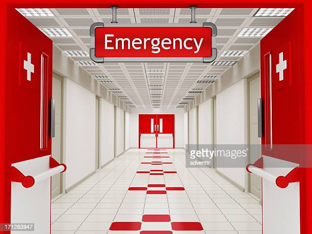 Hospital corridor with emergency sign