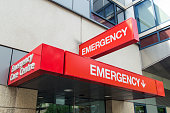 Entrance to hospital emergency department at St Vincent's Hospital in Melbourne, Australia.  The sign is red with the word EMERGENCY prominently displayed. It can be used to illustrate various healthc