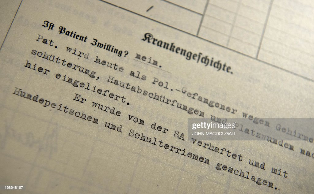 A hospital form exhibited in a cell describes how the incoming patient was wounded after being whipped with a dog leash and suspenders at the SA Prison Papestrasse, an early concentration camp (March to December 1933) run by the SA (Sturmabteilung) Field Police, taken May 8, 2013 in Berlin. Some 500 people, mostly Nazi regime opponents, were incarcerated (though unofficial estimations put the number to 2.000), beaten up and tortured in the SA Prison Papestrasse, located in the former barracks of the Prussian Railway Regiment). Inmates are known to have died in the prison, or as a result of their maltreatment there. The prison stands as an early example of what later became systematic and organised terror.