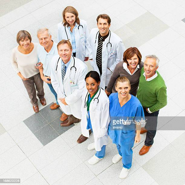 Hospital People seen from above