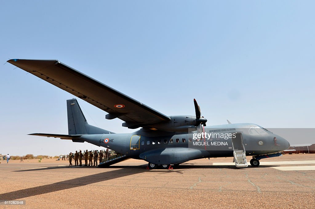 A hospital plane of the French army and its crew are pictured prior a visit of French Prime Minister and French Defense Minister to soldiers of the...