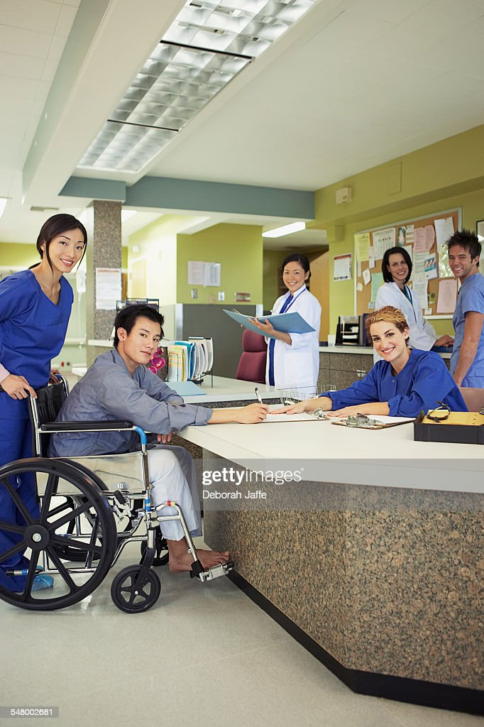 Hospital reception desk : Foto stock