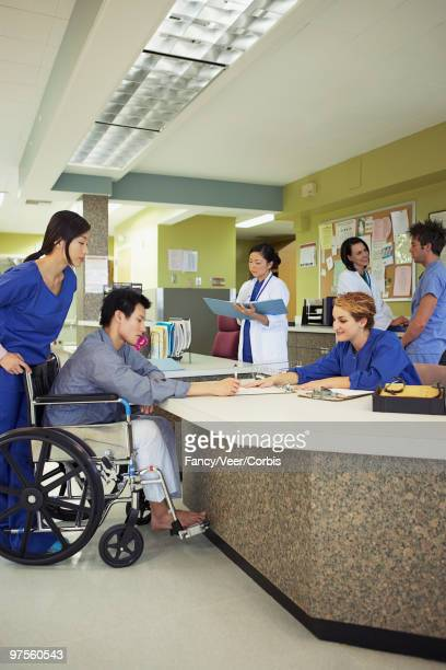Hospital reception desk