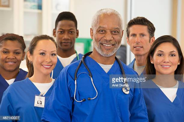 Hospital staff smiling together