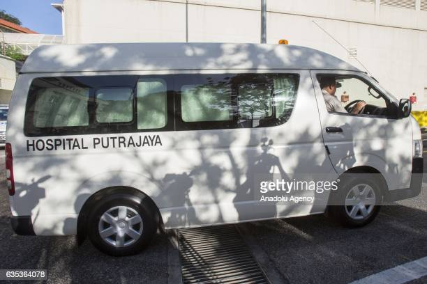 A hospital van exiting the Forensic Department of the Putrajaya Hospital outside Kuala Lumpur on February15 2017 45yearold Kim Jongnam was...
