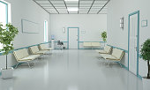 Waiting bench and wheel chair in hospital corridor. ( 3d render)