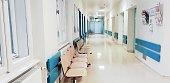 Bright empty hospital waiting room
