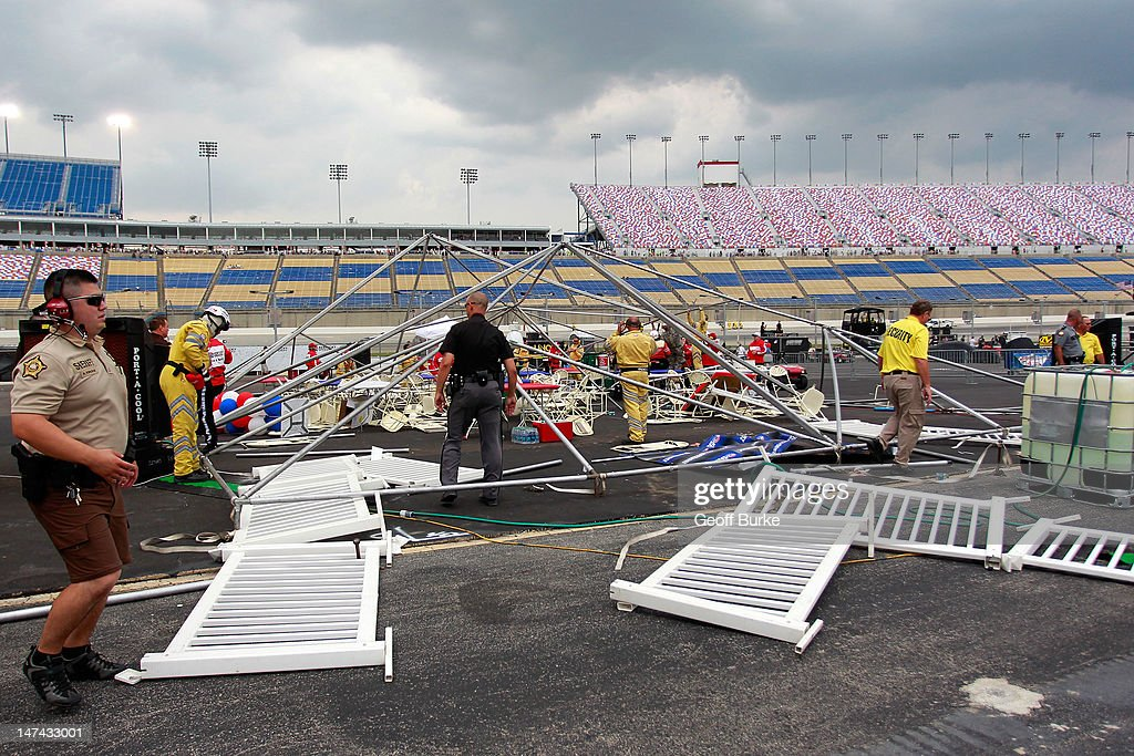 A hospitality tent in the infield sits damaged by high winds during qualifying for the NASCAR Sprint Cup Series Quaker State 400 at Kentucky Speedway on June 29, 2012 in Sparta, Kentucky.