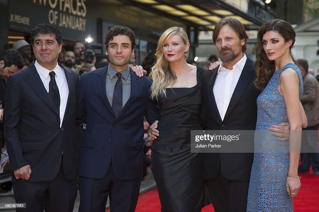 Hossein Amini Oscar Issac Kirsten Dunst Viggo Mortensen and Daisy Bevan attend the UK Premiere of 'The Two Faces Of January' at The Curzon Mayfair on...