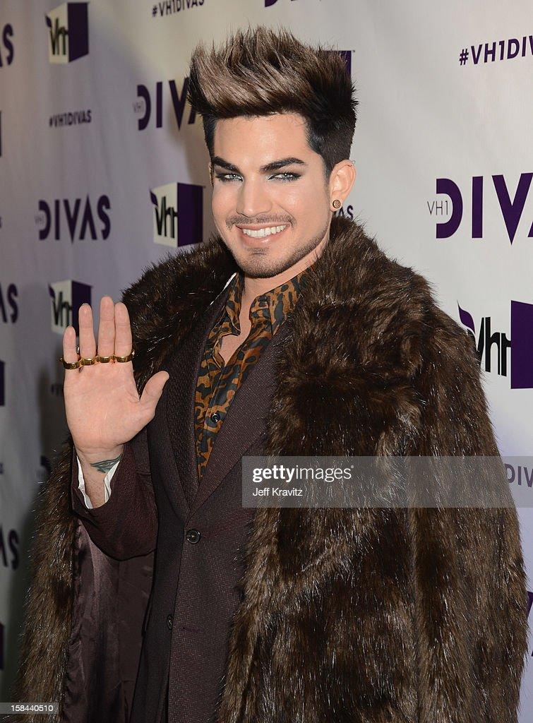 Host Adam Lambert arrives at 'VH1 Divas' 2012 at The Shrine Auditorium on December 16, 2012 in Los Angeles, California.