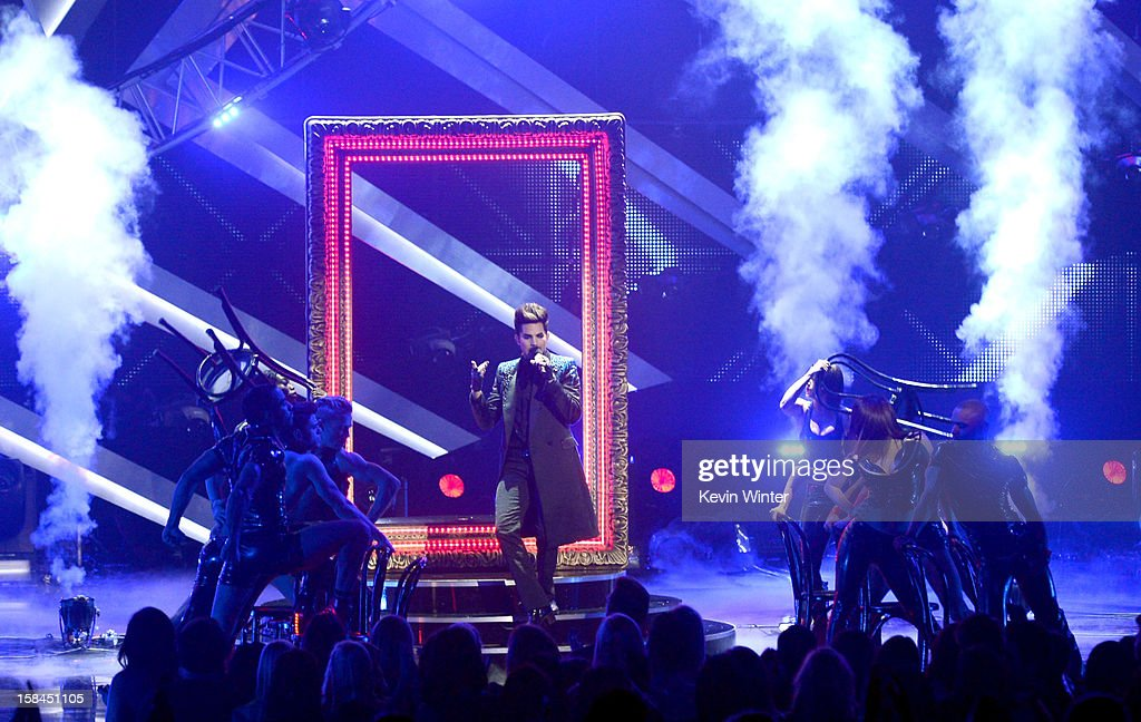 Host Adam Lambert performs onstage during 'VH1 Divas' 2012 at The Shrine Auditorium on December 16, 2012 in Los Angeles, California.
